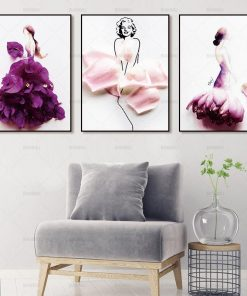 Girl in Beautiful 3D Flower Dress, Modern Wall Art Painting Printed on Canvas