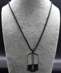 Fashion Blade Stainless Steel Necklaces Men Jewerly Black Color Gothic Necklaces & Pendants Jewelry collier homme N423S01