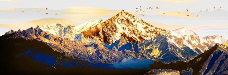 """3D Abstract Art Painting """" Golden Mountain in The Warmth of The Sun """" Printed on Canvas"""