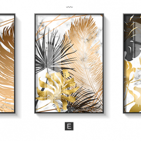 Golden Leaf Abstract Painting, Nordic Style Wall Art Home Decoration Printed on Canvas