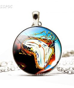 Fashion Glass Dome Necklace Soft Watch At The Moment of Explosion Salvador Dali Art Painting Necklace Accessories