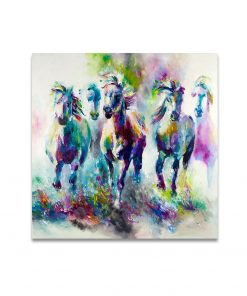Abstract Art Colorful Horses Oil Painting - Printed on Canvas