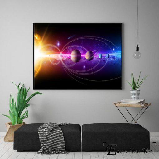 Our Solar System 3D Artwork, Wall Art 3D Print on Canvas