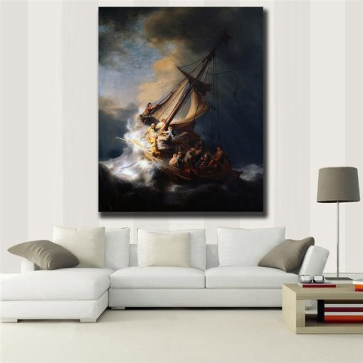 """Classic Oil Painting """" The Storm on the Sea of Galilee """" by Rembrandt, Printed on Canvas"""