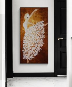 Abstract Dancing Woman Acrylic Painting, Modern Wall Art Printed on Canvas