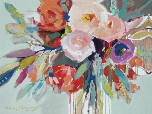 Flowers Oil Painting, Modern Wall Art Decor Floral Painting Printed on Canvas