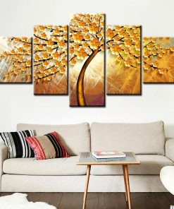 5Pcs Beautiful Abstract Golden Tree Painting - Print on Canvas