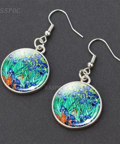 Van Gogh Paintings Print Glass Dangel Earrings Women Fashion Accessories Earrings, Vanlentines Day Gifts