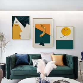 Abstract Half awake Canvas Painting Posters and Print Minimalist Wall Art yellow green Pictures For Living Room Bedroom Aisle