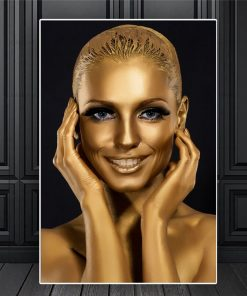 Beautiful and Elegant Canvas Art of Woman Portrait with Gold Makeup - Print on Canvas