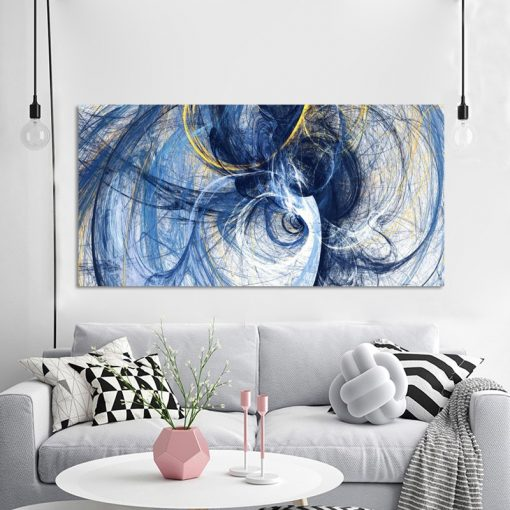Modern Art Oil Painting Abstract Blue Lines, Elegant Wall Art Painting - Print on Canvas
