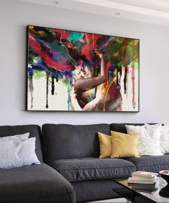Abstract Art Oil Paintings A Couple Of Lovers Printed on Canvas