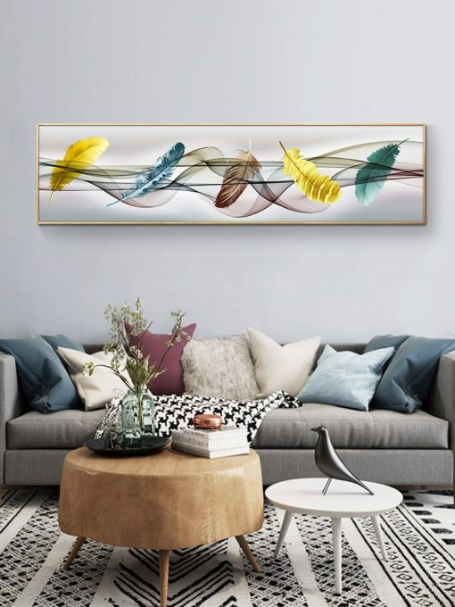 Modern Art Colorful Feathers Painting - Printed on Canvas