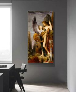 Classic Art Painting Oedipus and the Sphinx by Gustave Moreau, Printed on Canvas