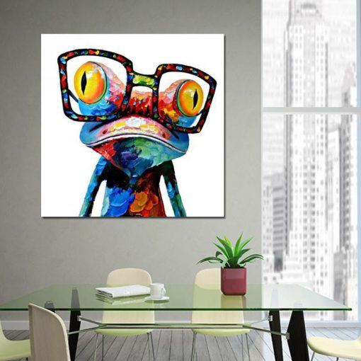Fuwatacchi Colorful Frog With With Glasses Abstract Oil Painting on Canvas Print Poster Modern Art Wall Pictures For Living Room
