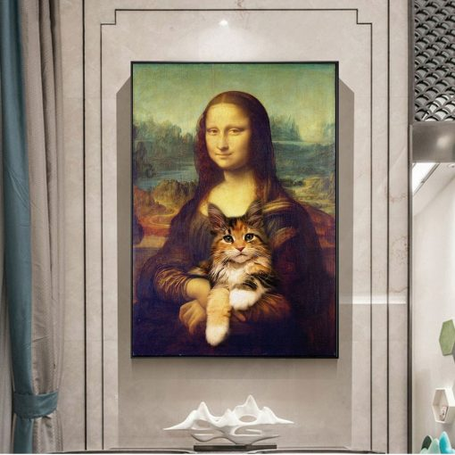 Mona Lisa Holding a Cat Funny Art Paintings on the Wall Art Posters and Prints Famous Art Classical Paintings For Living Room