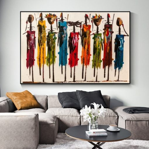 Abstract Art African Woman Oil Painting, Colorful Picture Printed on Canvas