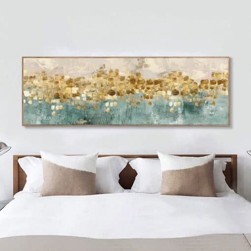 Modern Abstract Oil Painting on Canvas Posters and Prints Wall Art Golden Money Beach Pictures for Living Room Decor No Frame