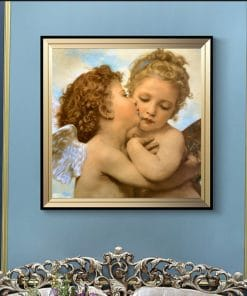Famous Painting Lamour and Psyche Children Posters and Prints Wall Art Canvas Painting First Kiss Pictures for Living Room Decor