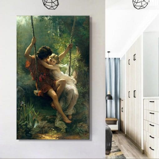 France Painter Pierre Auguste Cot's Springtime Posters Print on Canvas Wall Art Canvas Famous Painting for Living Room Decor