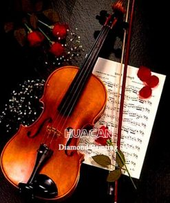 HUACAN 5D DIY Diamond Painting Full Drill Square Violin Home Decoration Embroidery Picture Handcraft Art Kits