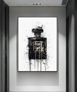 Modern Abstract Art Canvas Painting Wall Poster and Prints Abstract Black Perfume Bottle Pictures for Living Room Home Decor