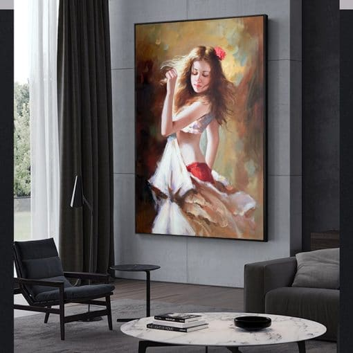 Girl Playing The Violin Canvas Art Paintings Romantic Dancer Canvas Art Posters and Prints Girl Pictures Home Decor Cuadros
