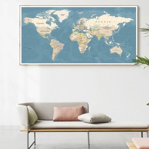 World Map Decorative Wall Art Picture Modern Posters and Prints Canvas Painting Cuadros Study Office Room Decoration Home Decor