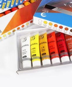12/24 Colors Acrylic Paint Set Color Paint For Fabric Clothing Glass Drawing Painting 15ML For Kids Waterproof Art Supplies