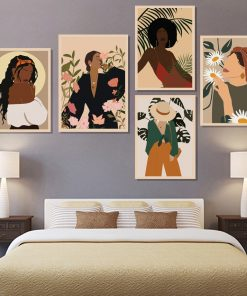 Modern Flower Girl On Vacation Nordic Poster Wall Art Canvas Painting Model Picture Wall Pictures For Living Room Unframed