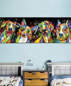Abstract Animals Art Canvas Paintings On The Wall Posters And Prints Colorful Dogs Canvas Pictures For Kids Room Decoration