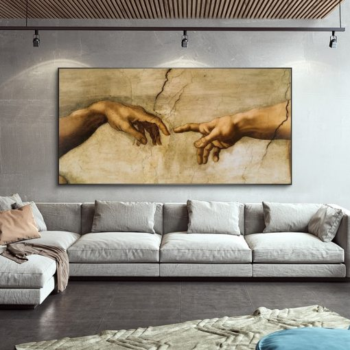 The Creation Of Adam by Michelangelo Famous Art Canvas Paintings On the Wall Art Posters And Prints Hand to Hand Art Pictures