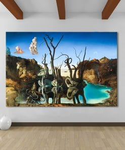 Salvador Dali Swans Reflecting Elephants Canvas Painting Abstract Posters and Print Wall Art Picture Living Room Decor Cuadros
