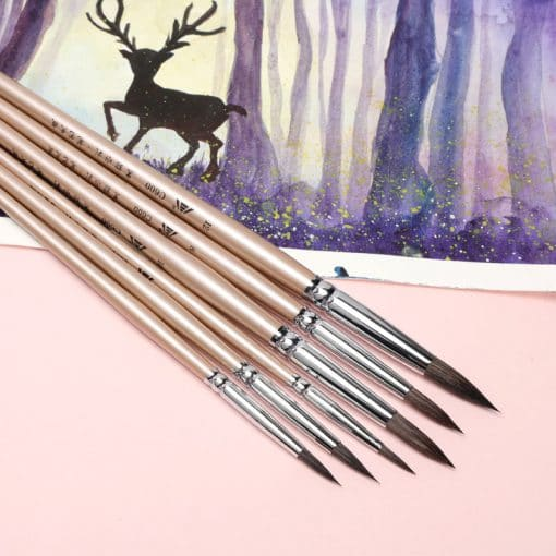 Watercolor brush black marten animal hair 6 pcs round pointed watercolor painting brush set adult beginner student hand-painted