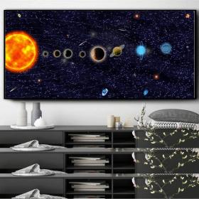 Our-Solar-System-3D-Artwork,-Wall-Art-3D-Print-on-Canvas