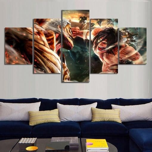 Prints Pictures Home Wall Art Modular Poster 5 Pieces Attack On Titan Animation Painting On Minimalism Canvas Living Room Decor