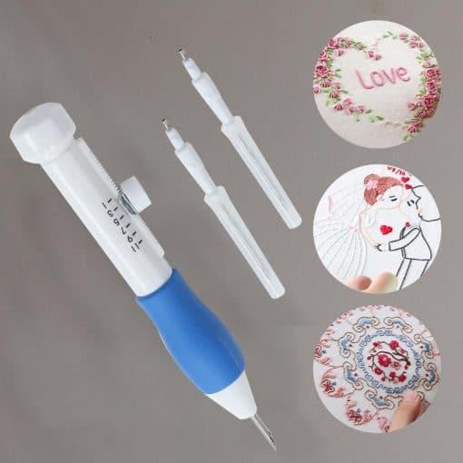 Hot Practical ABS Plastic DIY Magic Embroidery Pen Set Needle knitting Needles Tool Fancy Interchangeable Punch needlework Stitc