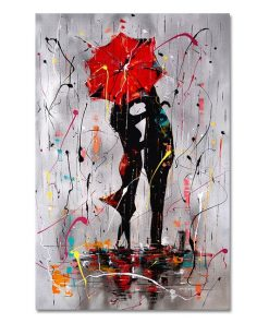 Abstract Red Lovers Umbrella Oil Painting on Canvas Scandinavian Posters and Prints Cuadros Wall Art Picture for Living Room