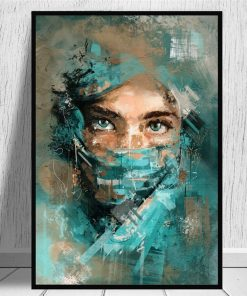 Abstract Woman Portrait With Green Veil Canvas Wall Art Poster And Prints Painting Watercolour Picture For Living Room Decor
