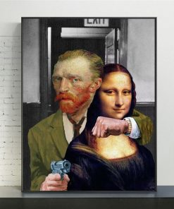 Funny Art Van Gogh and Mona Lisa Canvas Posters and print Abstract Famous Oil Paintings on Canvas Wall Pictures for Home Cuadros