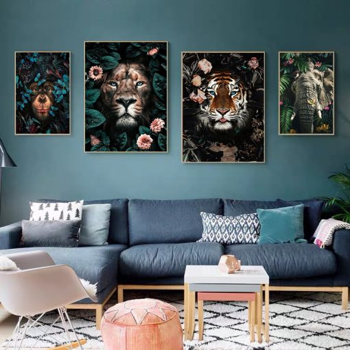Panda Tiger Lion Jungle Wild Animal Art Canvas Painting Poster and Print Cuadro Wall Art for Living Room Home Decor (No Frame)
