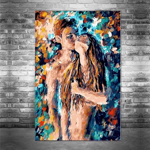 Passion Sexy Painting Naked Woman and Man Abstract Body Art Graffiti Oil Painting Canvas Print for Bedroom Hotel Wall Decoration
