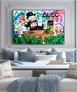 Alec Monopoly Rich Money Man Canvas Painting on the Wall Art Posters and Prints Graffiti Art Wall Pictures Home Decor Cuadros