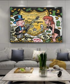 Graffiti Art Champagne Money Poster Alec Monopolyingly Paintings On Canvas Modern Art Decorative Wall Pictures Home Decoration
