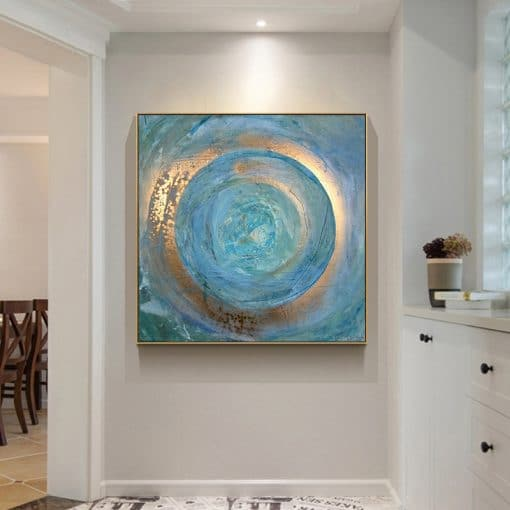 Abstract Blue Gold Oil Painting on Canvas Scandinavian Posters and Prints Cuadros Modern Wall Art Pictures For Living Room Decor