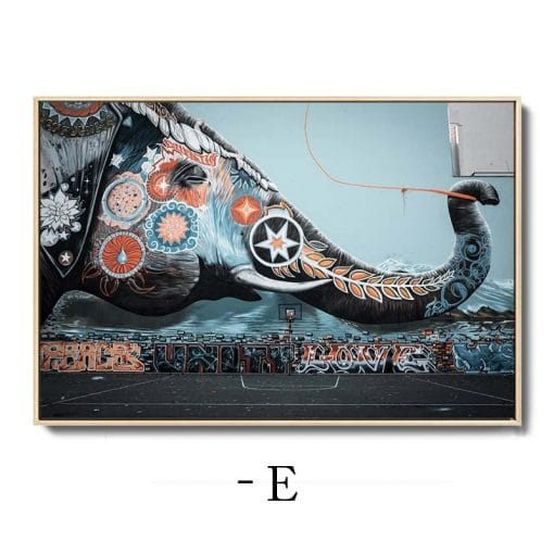 Banksy Graffiti Art Painting Panda Elephant Abstract Canvas Posters and Prints Modern Wall Cuadros for Living Room Home Decor