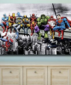 Wxkoil Superheroes Lunch Atop A Skyscraper Canvas Wall Pictures for Living Room Office Bedroom Modern Canvas Oil Painting