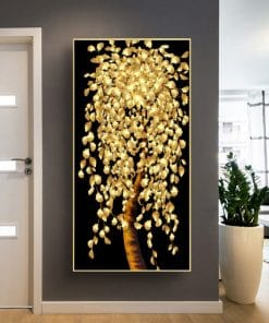 Abstract art Golden Leaf Tree painting, Wall Art Printed on Canvas