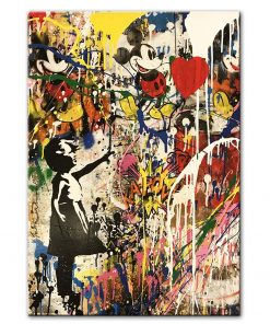 Girl Holding A Balloon Wall Graffiti Art Prints Modern Street Art Canvas Paintings On The Wall Pictures Kids Room Decoration