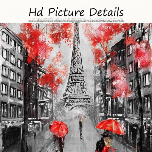 Romantic City Couple Paris Eiffel Tower Oil Painting on Canvas Art Cuadro Posters and Prints Nordic Wall Picture for Living Room